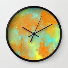 Abstract in Aqua, Orange, and Yellow Wall Clock