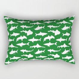 Sharks on Jewel Green Rectangular Pillow