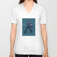 catwoman V-neck T-shirts featuring CATWOMAN by orlando arocena ~ olo409- Mexifunk