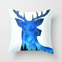 Spirit Deer // Space Antlers // Galaxy Stag // Double Exposure Deer Throw Pillow