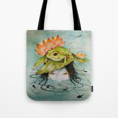 The Girl Who Kisses Frogs Tote Bag