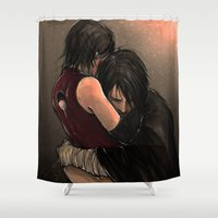 sasuke Shower Curtains featuring You with the sad eyes by PandaCapuccino