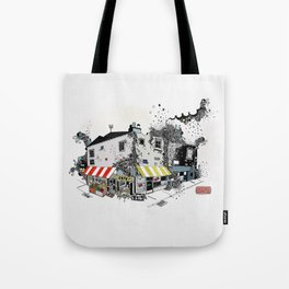 Street view pen drawing London illustration Tote Bag