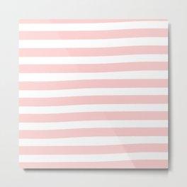 Brushy Stripes - Pink Metal Print