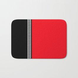 Greek Key 2 - Red and Black Badematte