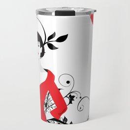 B&W+red Travel Mug