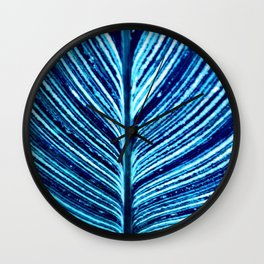 Feather Leaf in Blue Wall Clock