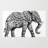 ornate elephant Area & Throw Rugs featuring Ornate Elephant 3.0 by BIOWORKZ