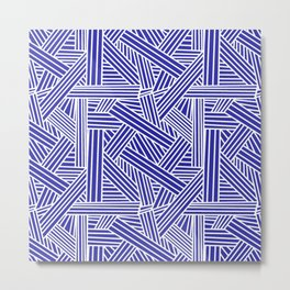 Sketchy Abstract (White & Navy Blue Pattern) Metal Print