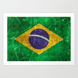 Vintage Aged and Scratched Brazilian Flag Art Print