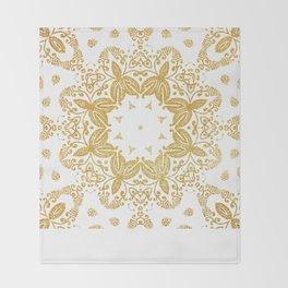 Golden mandala Throw Blanket