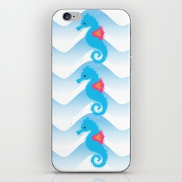 Seahorses And Blue Waves Pattern iPhone Skin