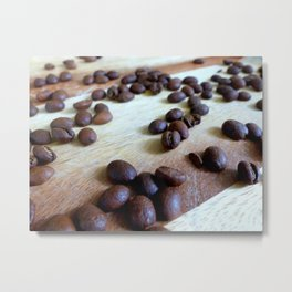 Scattered Coffee Beans Metal Print