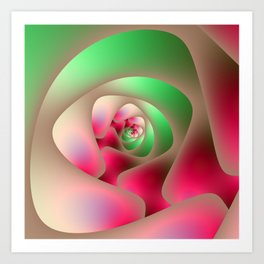 Spiral Labyrinth in Mint and Rasberry Art Print