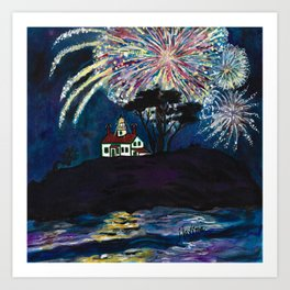 Crescent City Fourth of July ~ Battery Point Lighthouse Art Print