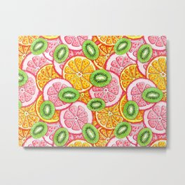 Summer pattern Orange grapefruit and kiwi fruit Metal Print