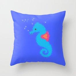 Blue Cartoon Seahorse Throw Pillow