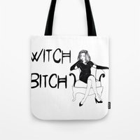 coven Tote Bags featuring Witch Bitch by Margret Stewart