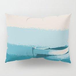 Blue boat blue sea wall art print Pillow Sham