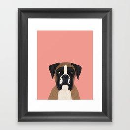 Boxer dog art print cute dog breed customizable pet portrait animal man's best friend dog person  Framed Art Print