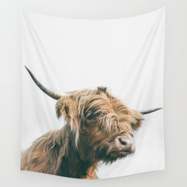 Majestic Highland cow portrait Wall Tapestry