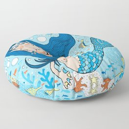 Quirky Mermaid with Sea Friends, Blue version Floor Pillow