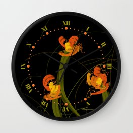 Flowerthread No1 [orange blooms] Wall Clock