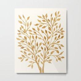 Golden Ficus Tree Metal Print