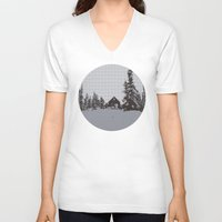 cabin V-neck T-shirts featuring cabin love by ptarmigan