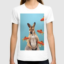 wallaby with goldfish around #society6 #wallaby T-shirt