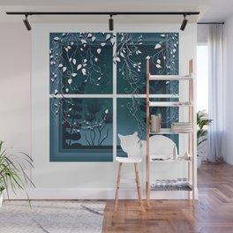 White Kitty Cat Window Watcher Wall Mural