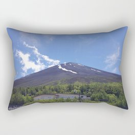 Blue Sky Fuji-san // Mount Fuji Landscape Portrait Rectangular Pillow