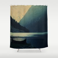mountains Shower Curtains featuring mountains by Ingrid Beddoes photography