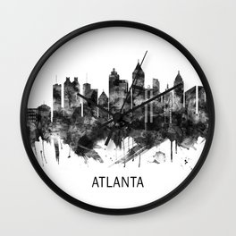 Atlanta Georgia Skyline BW Wall Clock