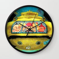 life aquatic Wall Clocks featuring Earth Aquatic by ScoDeluxe