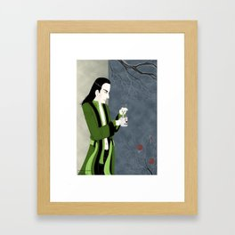 Loki; planning evil deeds with a cup of tea Framed Art Print