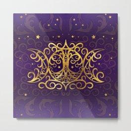 Triple Moon - Triple Goddess Gold and Purple Metal Print