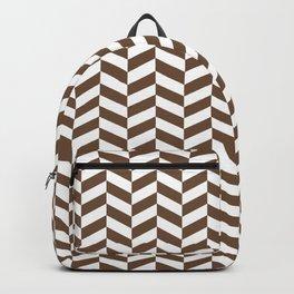 Coffee Brown Herringbone Pattern Design Backpack
