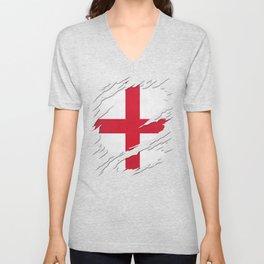 Flag of England St. George's Cross Ripped Reveal Unisex V-Neck