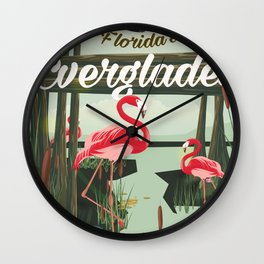 Everglades travel poster Wall Clock