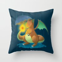charizard Throw Pillows featuring Charizard by Jeanette Aga