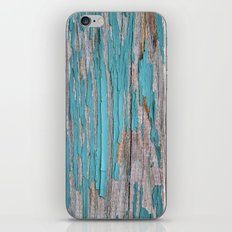 Rustic turquoise weathered wood shabby style iPhone & iPod Skin