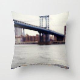 Manhattan Bridge from Afar Throw Pillow