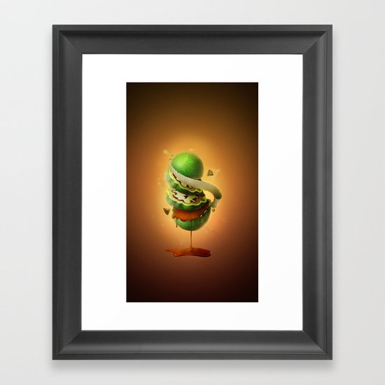 Sliced Green Wallnut Framed Art Print
