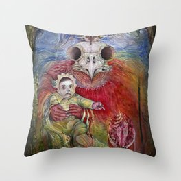 The Surrogate Mother-Goddess of Wisdom holding Alter-Ego Baby Bogomil Throw Pillow
