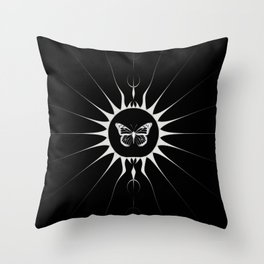 Butterfly on Black Throw Pillow
