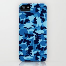 Blue Background Pattern Camo iPhone Case