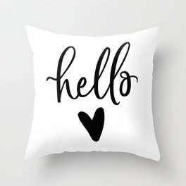 HELLO LOVE by DearLilyMae Throw Pillow