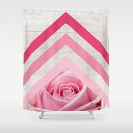 Pink Rose on White Wood - Floral Romantic Geometric Design Shower Curtain