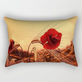 Autumn Red Poppies Rectangular Pillow